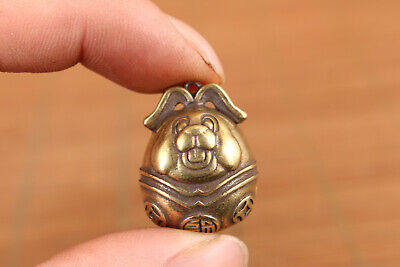 Chinese old bronze hand casting lovely fortune dog bell statue figure pendant