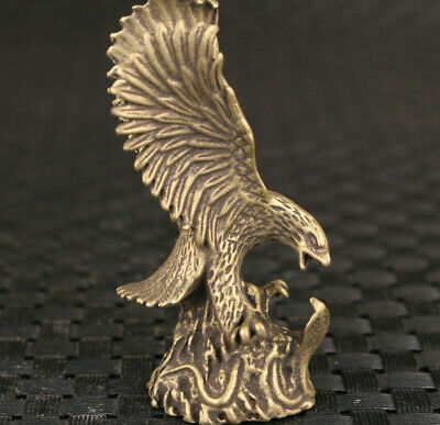 Rare chinese bronze handmade eagle statue figure Tea Pet collectable good stand