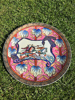Vintage Plate. Metallic. Chinese/Japanese Design. Colourful. Unique Pattern