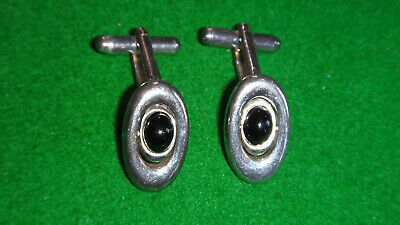 925 Silver & Onyx  Swivel Cufflinks