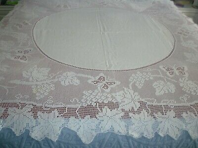 "antique hand crochet Mary Card tablecloth butterflies and grape vine 60""square"