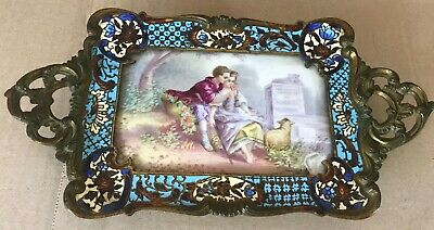 Hand painted ceramic tray antique french. 19th Century.