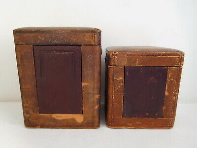 X2 Antique Victorian 19th Century Carriage Clock Case Leather & Wood