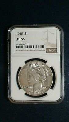 1935 P Peace Silver Dollar NGC AU55 ABOUT UNC $1 COIN PRICED TO SELL NOW!