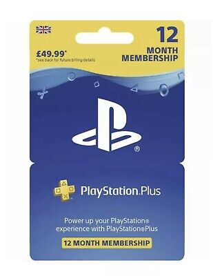 Sony PlayStation Plus 12 Month Subscription PS4 PS3 RRP £49.99 Free Delivery