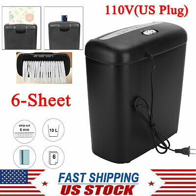 Commercial Home Office Paper Shredder Strip Cut 6-Sheet Destroy Credit Card 110V