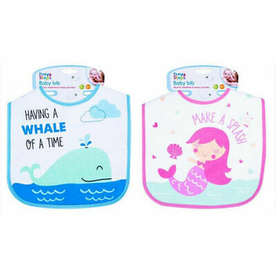 Boys & Girls Baby Waterproof Feeding Bib Mermaid/Whale Design 100% Cotton Front