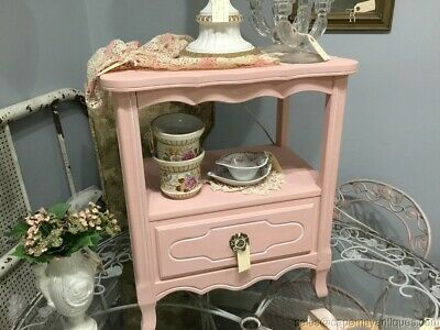 Painted Pink Nightstand Vintage Wood French Provincial Open Storage w 1 Drawer