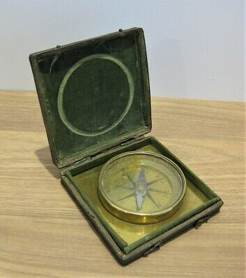 A Cased Brass Travelling Compass, France, Circa 1750 surveying shagreen case