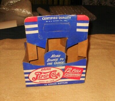 Vintage 50s/60s Pepsi Cola Carton    Cardboard   Old Soda Advertising