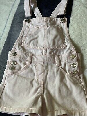 Next Girls Baby Pink Short Dungarees. Age 4 Years