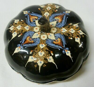 Hand-Painted ROUND COVERED BOX - Exquisitely Colorful!