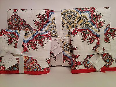NWT Pottery Barn Coral Embroidered Full Queen Quilt 2 Std Shams BEACH HOUSE $358