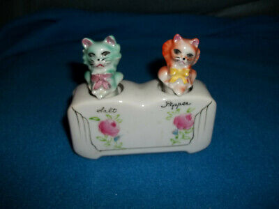 Vintage Wobbley Cat Salt And Pepper Shakers Japan