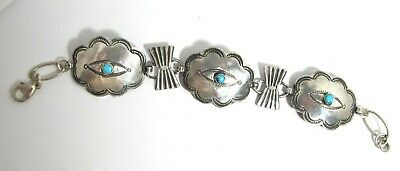 """Vintage concho bracelet, sterling silver & turquoise, 7"""", lobster clasp, pretty"""