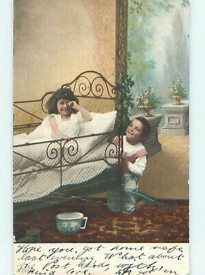 Pre-1907 ANTIQUE CHAMBER POT UNDER GIRL'S BED & BOY HIDING FROM HER HJ4097