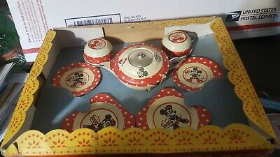 Vintage Happynak England Mickey Mouse Tin Dish Set