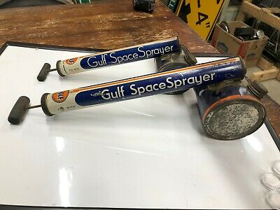 2 Vintage GULF OIL INSECT Sprayer Spray Gas Advertising Collection Old Antique