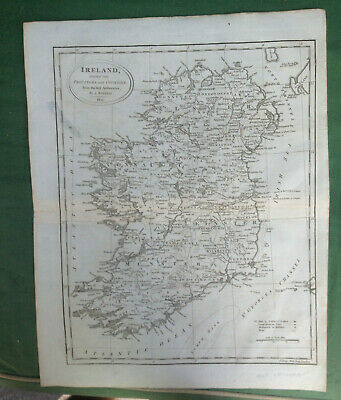 "1802 Ireland Map J.russell ""From Best Authorities"" Large Handsome Good Margins"