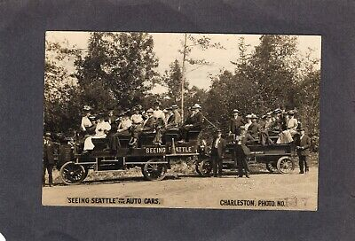 Real Photo Postcard RPPC: Seeing Seattle on the auto cars