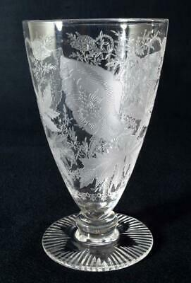Antique Victorian Etched Wine Glass Late 19thc