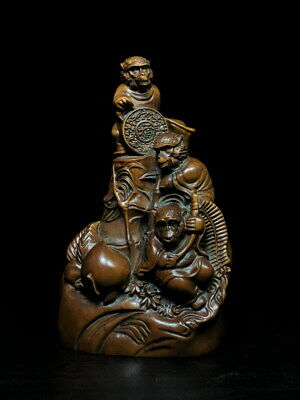 Collectable Handwork Boxwood Carving Monkey & Peach Auspicious Beautiful Statue