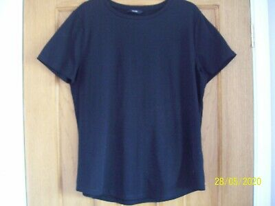 Ladies Black Short Sleeve T Shirt / Top by GEORGE size 14 vgc