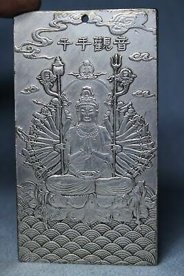 Decoration Handwork Miao Silver Carving Thousand Hand Guanyin Auspicious Pendant