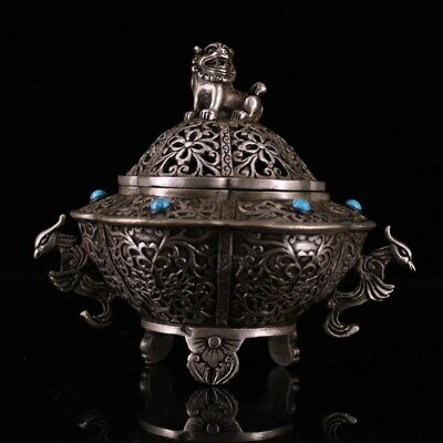 Decoration Miao Silver Carving lion elegant beautiful precious Incense burner