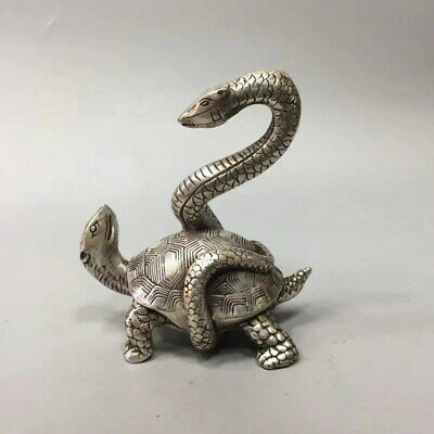 Decoration Rare Miao Silver Carving Tortoise & Snake Struggle Exquisite Statue