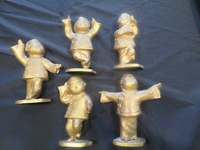 5 Vintage Chinese Golden Metal Figurine Statues Cast Iron Made in Japan
