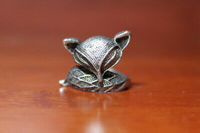 Collectable Ancient Handwork Miao Silver Carving Fox Precious Beautiful Ring