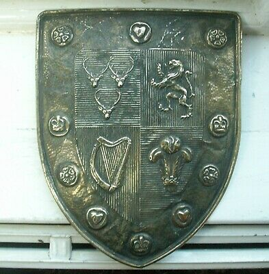 Old Antique Brass Embossed Shield Coat of  Arms Scotland Ireland Wales England
