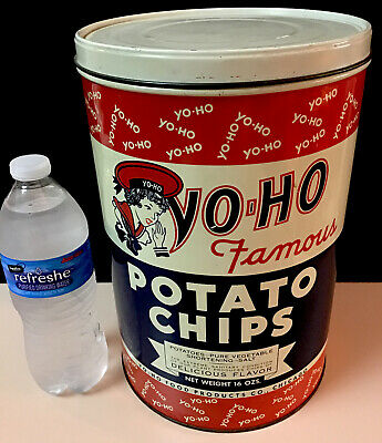 RARE!  LARGE STUNNING w Gr8 Graphics EXLNT Vintage YO-HO Potato Chips Tin W/ Lid