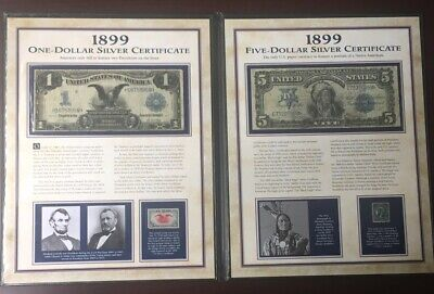 2 pc set 1899 $1 Black Eagle, $5 Chief Silver Certs! Includes PCS Coins display!