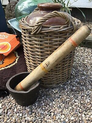 Antique vintage Herbalist mortar pestle cast iron And Wood Large