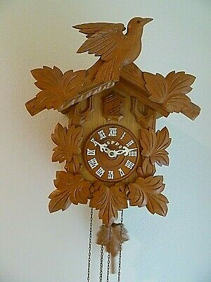 Vintage Poppo Black Forest 1-Day Cuckoo wall clock Schmeckenbecher Birds Poppo