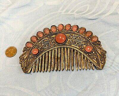 Qing Dynasty Comb Silver with Pink Glass