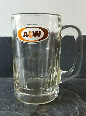 "Vintage A & W Root Beer 5.75"" LARGE Mug Heavy Glass w/ Thumbprint Design"
