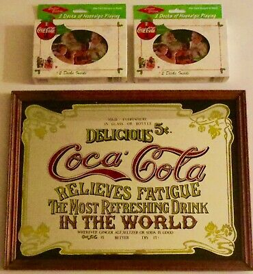 Lot Coca-Cola  Pub Sign & Four Packs Limited Ed Nostalgic Playing Cards W/ Tins