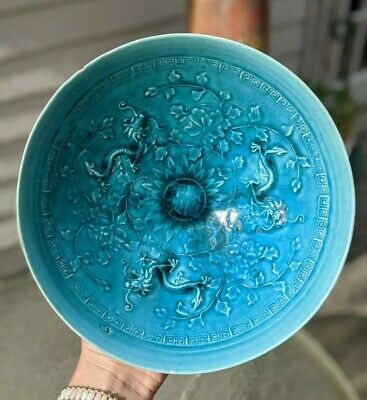 Antique Chinese Porcelain Bowl Turquoise Glaze Moulded Dragon Conical Mid Qing
