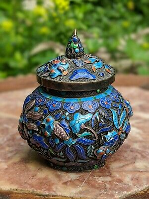 Antique Chinese Export Silver Box Filigree Enamel Cricket Cage Gold Wash Qing