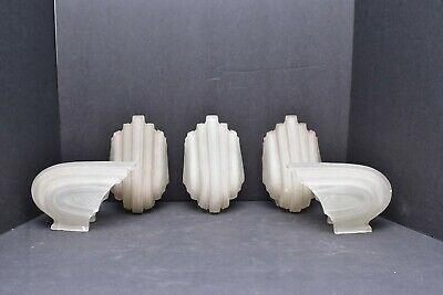 SET of 5 Art Deco Antique Glass Slip Shades replacement sconce /chandelier Clear