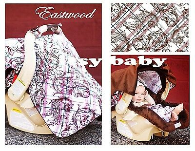 THE WHOLE CABOODLE Carseat Canopy 5pc set for Infant Seat EASTWOOD
