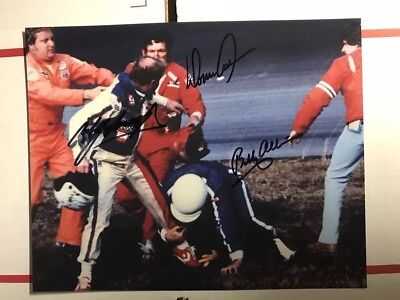 Cale Yarborough (smeared), Donnie & Bobby Allison Signed 8x10 Photo NASCAR Autog