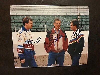 Al, Bobby & Al Unser Jr Signed Indianapolis 500 8 X 10 Photo Indy Car