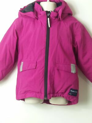 Girls Polarn O Pyret Pink & Grey Hooded Padded Coat Jacket Age 18-24 Months