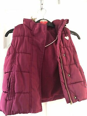 Girls M&S Burgundy Gilet / Bodywarmer. Age 1.5 - 2yrs. Excellent Condition
