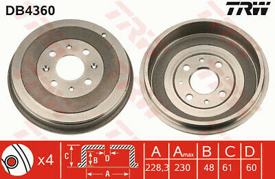 VAUXHALL CORSA D 1.2 Brake Drum Rear 06 to 14 228.3mm TRW 568270 55701380 New