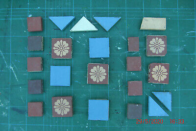 Salvaged 23 Minton mosiac encaustic tiles, Used condition.